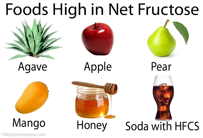 Foods with net fructose